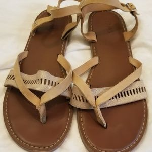 Toms sandals brown leather  Sz 9